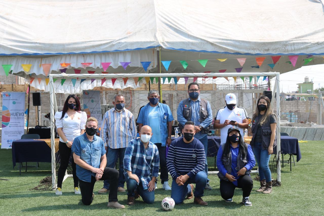 Inauguración de cancha de futbol en Mosaico Urbano